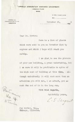 1925/11/25: C. S. Sargent to Joy Morton