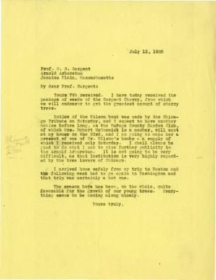 1925/07/13: Joy Morton to C. S. Sargent