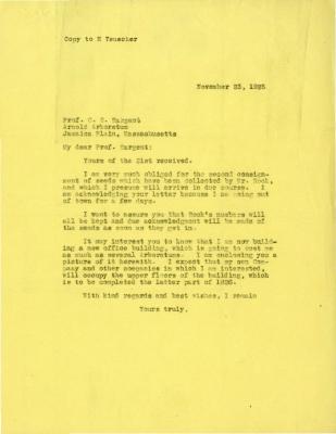 1925/11/23: Joy Morton to C. S. Sargent