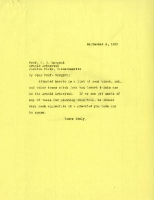 1925/09/04: Joy Morton to C. S. Sargent