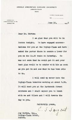 1925/06/18: C. S. Sargent to Joy Morton