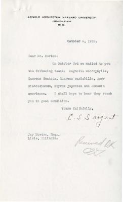 1925/10/06: C. S. Sargent to Joy Morton