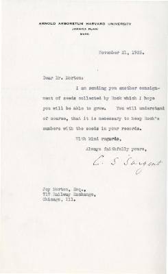 1925/11/21: C. S. Sargent to Joy Morton