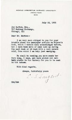 1925/07/22: C. S. Sargent to Joy Morton