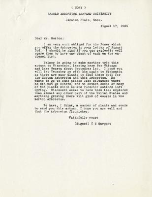1925/08/17: C. S. Sargent to Joy Morton