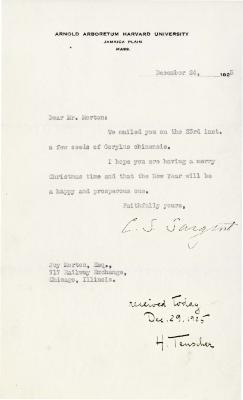 1925/12/24:  C. S. Sargent to Joy Morton