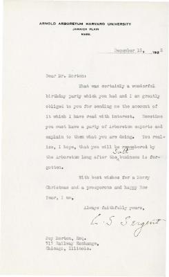1925/12/15: C. S. Sargent to Joy Morton