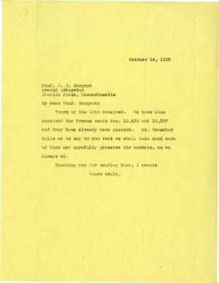 1925/10/14: Joy Morton to C. S. Sargent