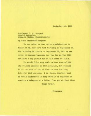1925/09/15: Treasurer to Professor C. S. Sargent