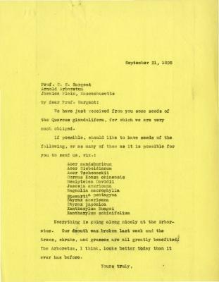 1925/09/21: Joy Morton to C. S. Sargent