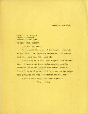 1925/12/30: Joy Morton to C. S. Sargent