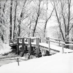 Wooden bridge covered in snow over DuPage River dam