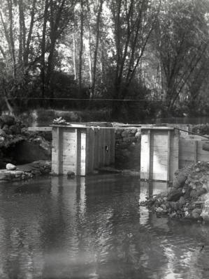 DuPage River dam, construction
