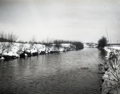 DuPage River in winter near Ozark Lake