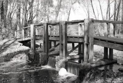 Wooden bridge over DuPage River dam
