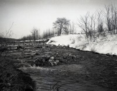 First DuPage River dam in winter
