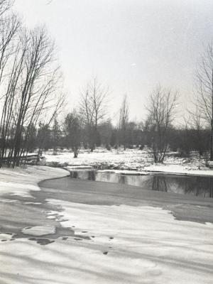 Looking northwest from DuPage River dam in winter