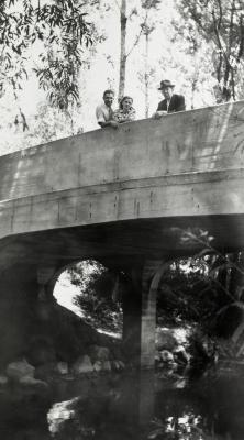 Two men and a woman on concrete bridge over DuPage River