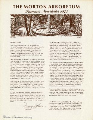The Morton Arboretum Summer Newsletter 1973