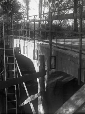 DuPage River bridge, metal railings installation