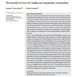 The benefits of trees for livable and sustainable communities