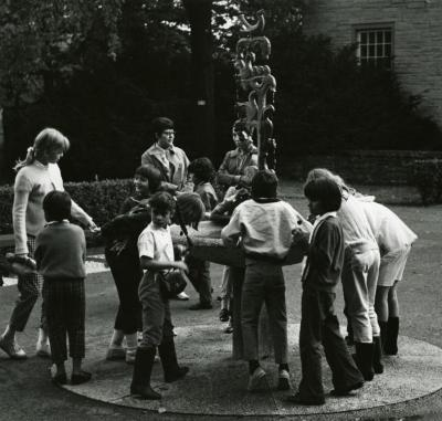 Children drinking at Raintree Fountain