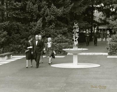 Raintree Fountain and visitors, outside Thornhill Education Center
