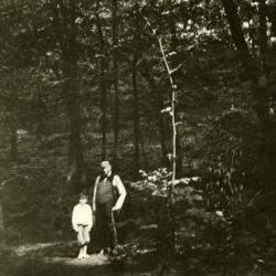 Joy Morton with his nephew on east side path