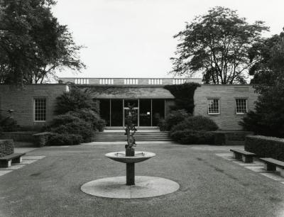 Thornhill Education Center, raintree fountain in foreground