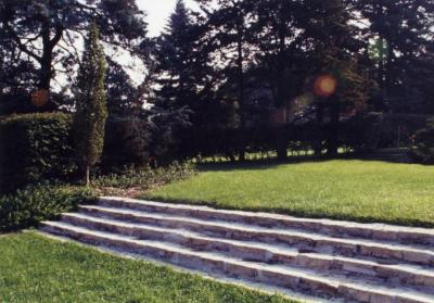 Stone steps, at Pinetum end of the Hedge Collection