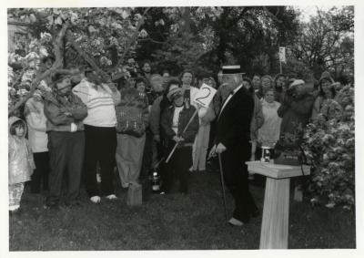 Twilight Tree Walk , Craig Johnson dressed as Joy Morton standing in front of crowd