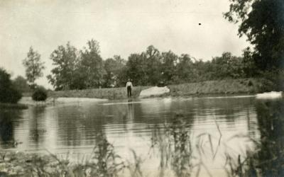 Early Lake Marmo view - man on shore opposite