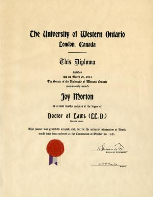 Doctor of Laws (LL.D.) diploma awarded to Joy Morton from University of Western Ontario, London, Canada
