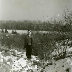 Margaret Godshalk standing outside in the snow