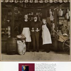 Morton Salt ad, photograph of three men outside R.M. Richards general store