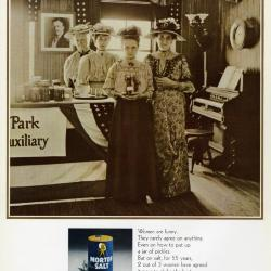 Morton Salt ad no. 6711, photograph of four women with jars of pickles