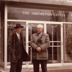 Clarence Godshalk with Bob Prager, standing outside of The Arboretum Center at The Morton Arboretum