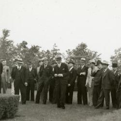 Clarence Godshalk and First Congressional Church of Downer's Grove Breakfast Club in Hedge Garden