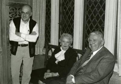 Clarence E. Godshalk's 90th birthday celebration scrapbook: Richard Wason with Evelyn and Roger Naser