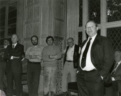 Clarence E. Godshalk's 90th birthday celebration scrapbook: Charles Haffner greeting Clarence Godshalk on behalf of the Board of Trustees