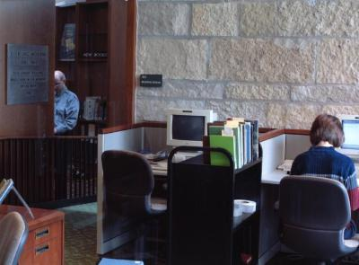 Sterling Morton Library, from southwest side of room showing computer workstations