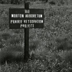 Prairie Restoration Project sign at old prairie