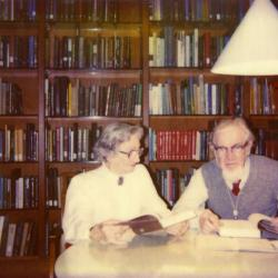 Joe and Nesta Ewan at table in Sterling Morton Library
