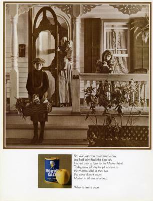 Morton Salt ad, photograph of woman and three children on porch