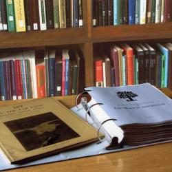 Sterling Morton Library, Reference Room, Plant Collections Catalog and Art of Far East book open on map case