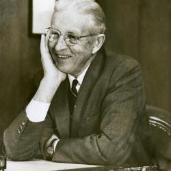 Clarence E. Godshalk at his desk, 68 years old