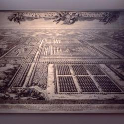 Sterling Morton Library, engraving in exhibit case, Park at Sorgvliet, Holland