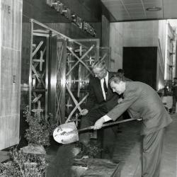 Tree planting at new Morton Salt Building, 110 N. Wacker, shoveling dirt