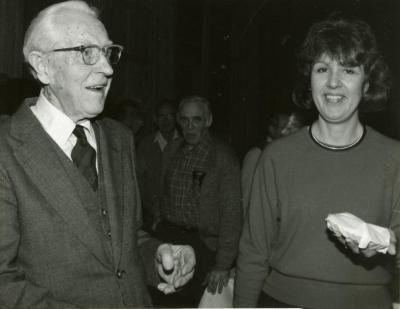 Clarence E. Godshalk's 90th birthday celebration scrapbook: Clarence Godshalk with Susan Klatt