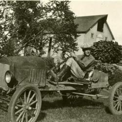Clarence E. Godshalk in runabout made from Model T car